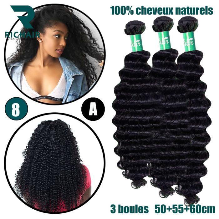 3 tissage bresilien boucle 7A cheveux naturel humain curly vrais meches 20+22+24pouces 50g/p RICHAIR