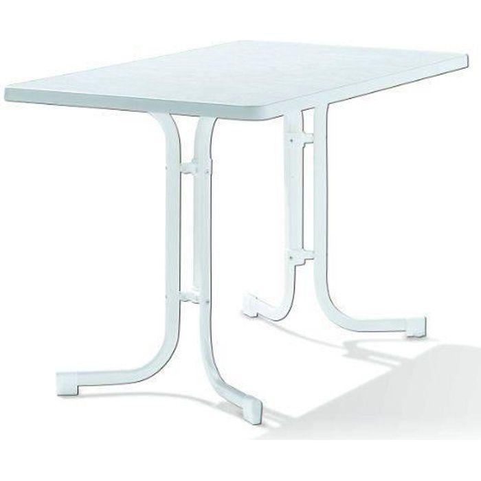 Sieger 133/W Table de Jardin Acier Blanc 115 x 70 x 72 cm…