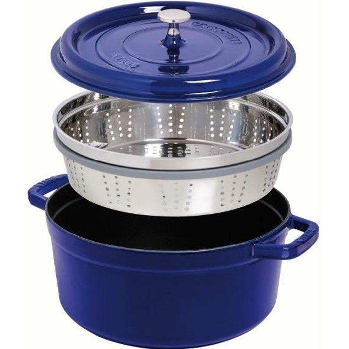 STAUB 405106050 - Cocotte ronde avec panier vapeur - Ø 26 cm - Gris graphite