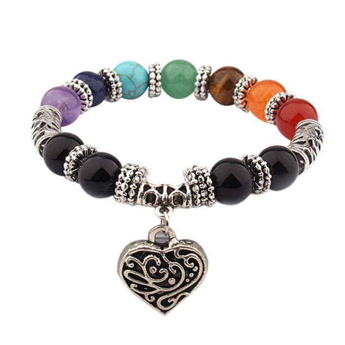 1 pc Perles Naturel Agate Pierres De Mode Bracelets Chakra Guérison Équilibre Yoga Reiki Charme Coeur BRACELET - GOURMETTE - JONC