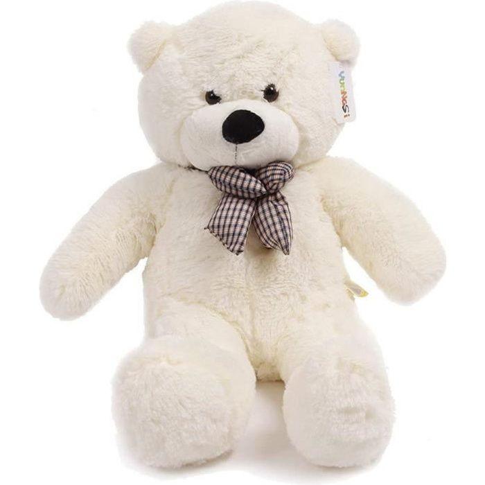 peluche geante nounours géant ours en peluche ours jouet enfant 120cm,blanc