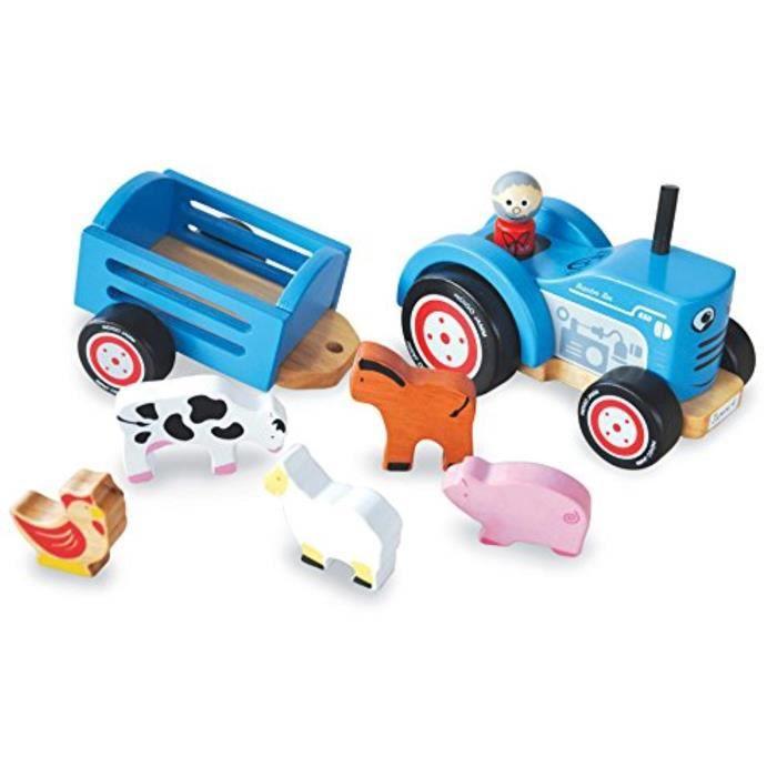 POUPON Poupon QG7BX Tracteur Tim, Retro Jouet en bois et