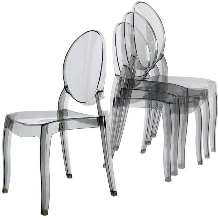 lot de 4 chaises transparent gris en plexi ronda achat vente fauteuil gris cdiscount. Black Bedroom Furniture Sets. Home Design Ideas