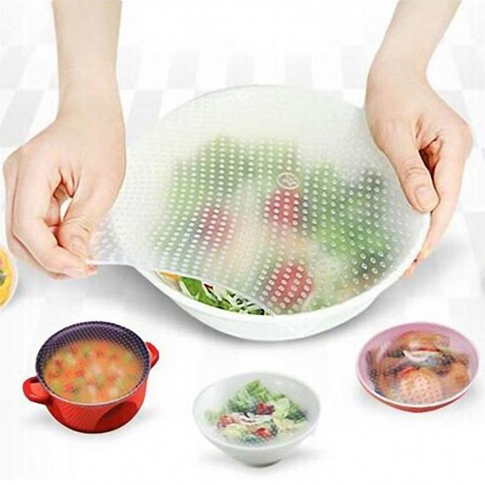 EMBALLAGE ALIMENTAIRE  Silicone Food Wrap Couvercle réutilisable de joint
