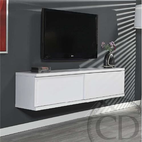 Meuble tv suspendu laqu blanc design achat vente for Meuble tv a suspendre