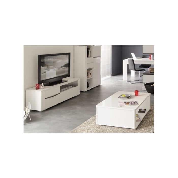 Table basse et banc tv contemporains blanc white achat - Table basse contemporaine bois ...