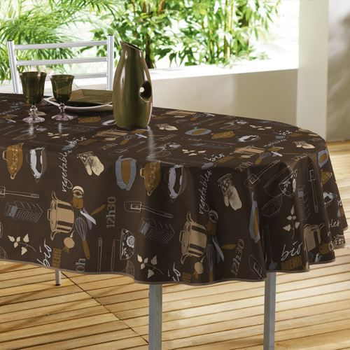 nappe toile cir e ovale naturel choco 140x240cm achat. Black Bedroom Furniture Sets. Home Design Ideas