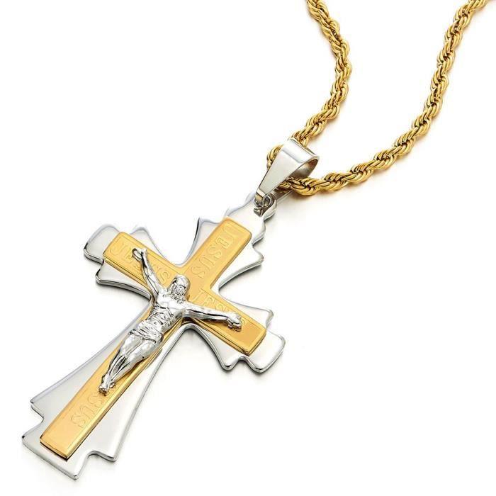 Deux Tons Or et dargent COOLSTEELANDBEYOND J/ésus Christ Croix Crucifix Pendentif Collier Homme Acier avec 75CM Cha/îne de Bl/é