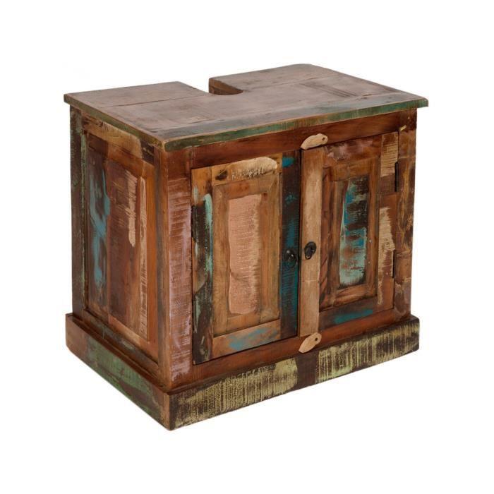 Meuble sous vasque rustique en bois recyclé 66x43 cm avec 2 ...