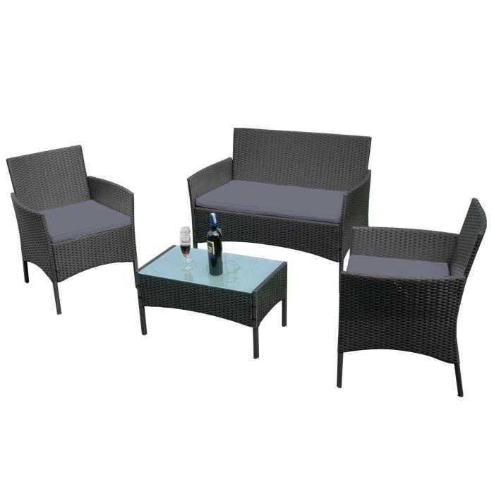 MCTECH Mobilier de jardin en rotin poly, noir - avec canapé 2 places,  chaises simples, table et coussin de siège anthracite