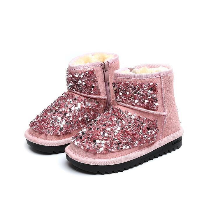 37 d'hiver Rose de Chaussures Nouveauté antidérapage Grande talons neige Bottes plats bottine Taille 21 Enfants chaud qMLVjSUpGz
