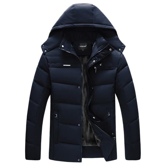 Marine Hooded Garder Plus Chaud Hiver Doudoune Velours Au Slim Épaississant De Noir Homme m8On0vNw