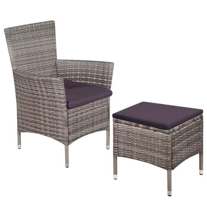 FAUTEUIL JARDIN  Chaise de salle à manger d'extérieur avec tabouret