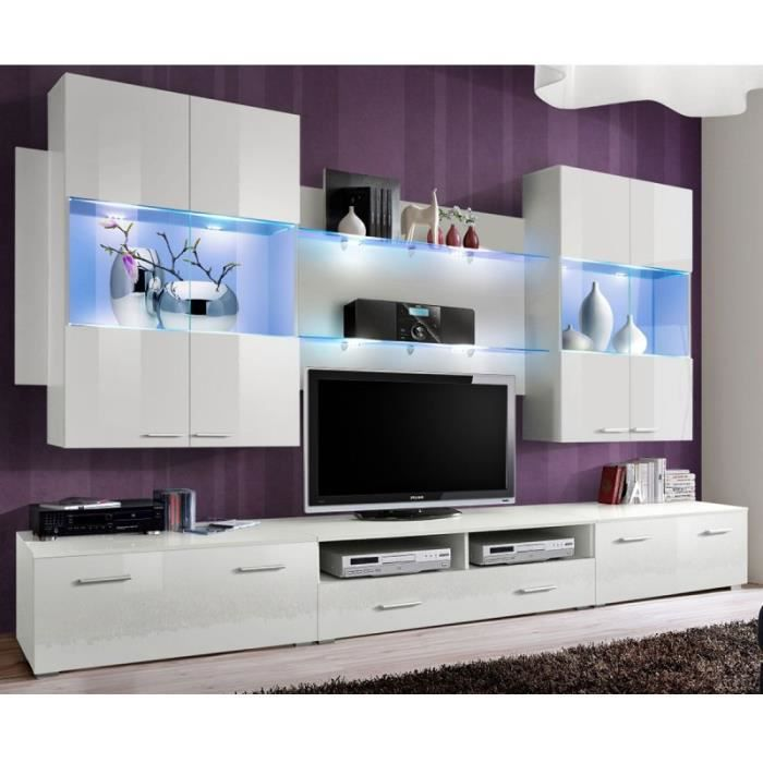 Paris prix meuble tv mural design space 300cm blanc for Meuble mural occasion