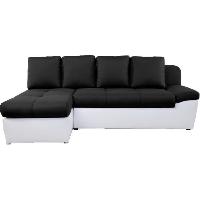 canap d 39 angle gauche convertible switsofa duette noir blanc achat vente canap sofa. Black Bedroom Furniture Sets. Home Design Ideas