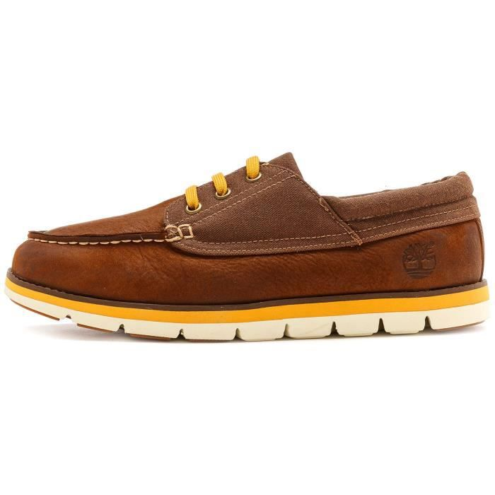 Timberland Earthkeepers Harborside Cuir Chaussure bateauenMarron & Jaune 6303A