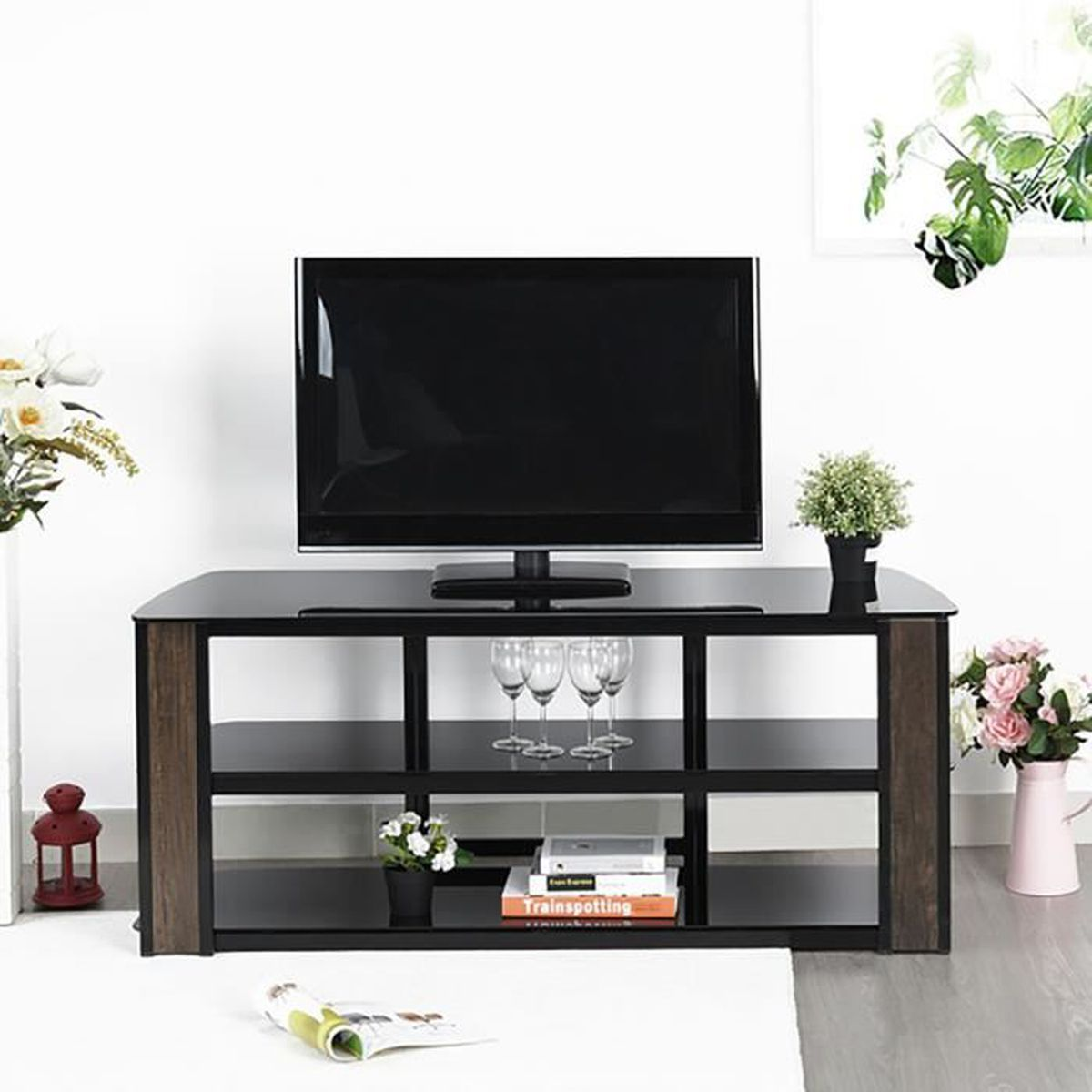 meuble tv metal et verre achat vente meuble tv metal. Black Bedroom Furniture Sets. Home Design Ideas