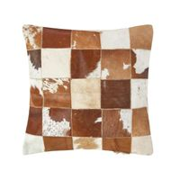 Housse de coussin patchwork en peau petits carreaux 45 x 45 cm