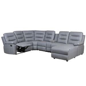 CANAPÉ - SOFA - DIVAN Canapé d'angle panoramique gris relax KINGS