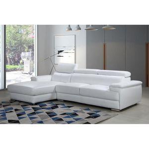 CANAPÉ - SOFA - DIVAN Grand canapé d'angle blanc Cuir véritable au choix