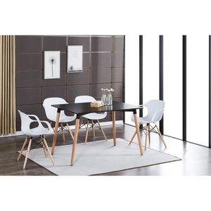 TABLE À MANGER COMPLÈTE Table à Manger Noire + 4 Chaises Modernes Blanches