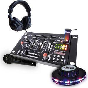 TABLE DE MIXAGE Kit table de mixage + casque + micro noir + jeu de