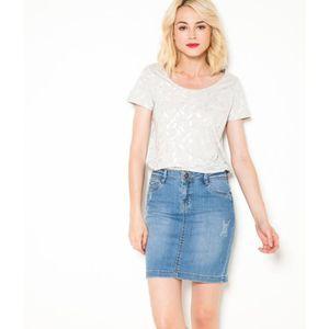 T-SHIRT Camaïeu - T-shirt femme imprimé plumes - GRIS CLAI