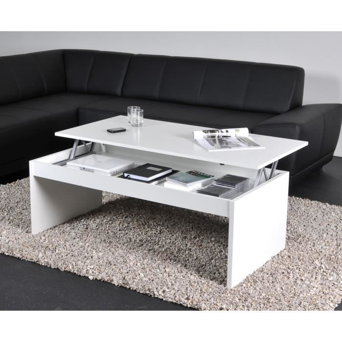 Darwin table basse plateau relevable blanc 120x60 achat for Table de salon escamotable