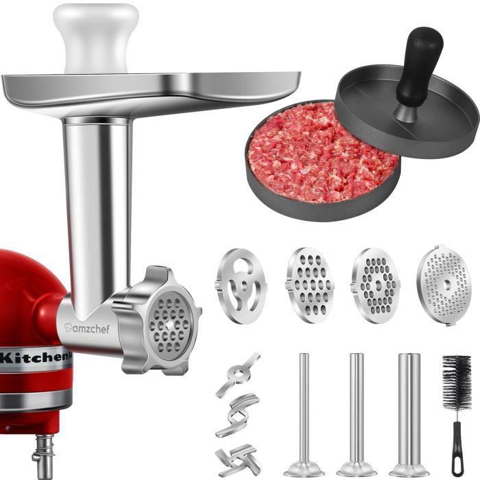 Accessoires de hachoir à viande AMZCHEF- Accessoire de broyeur en métal pour mixeur KitchenAid - pour viande-saucisses-hamburger