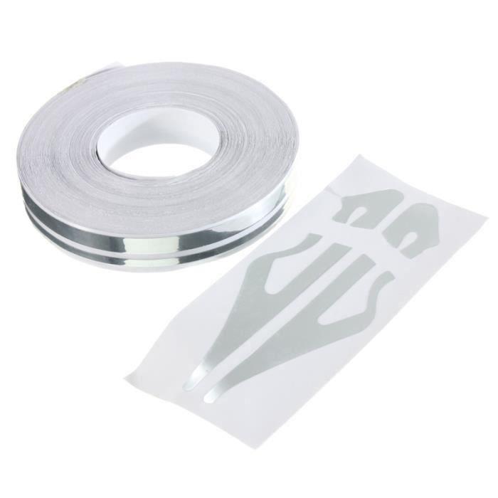 HT Sticker Autocollant Décoration Adhésif 12Mm Bande Ruban Vinyle pour Voiture Auto Argente - HTAVC824AA4244