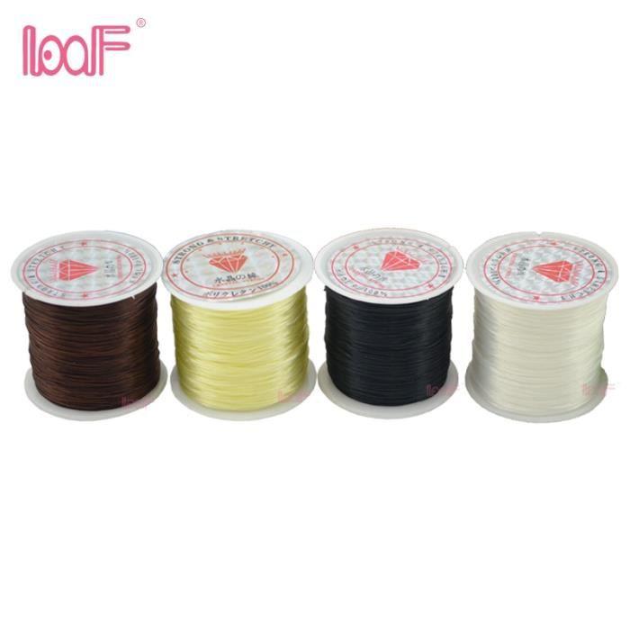 brown -LOOF – rouleau de fil élastique et extensible pour fabrication de bijoux ou extensions de cheveux, 80 m-rouleau, 0.8mm, 1 pi