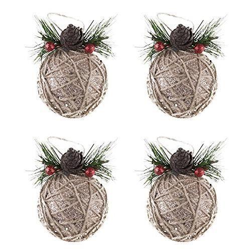 Clever Creations - Lot de 5 boules de Noël avec pommes de pin-baies - fil en toile de jute - résistant-festif - doré - 80 mm