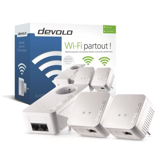 DEVOLO Kit 2 CPL Wi-Fi 550 Mbit/s + 1 CPL filaire 550 Mbit/s- Modèle 9639 dLAN 550 WiFi