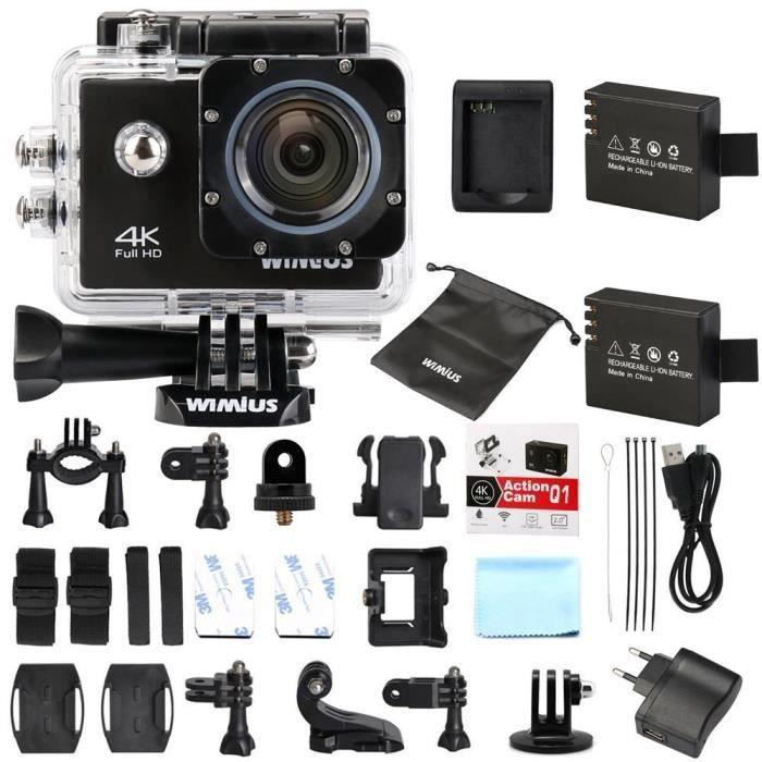 Caméra Action Sport 4k Full HD 16MP WiMiUS Q1 Caméra Embarquée Etanche 40M Grand Angle 170° Kit d'accessoires + 2 Batteries (Noir)