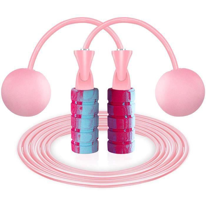 saut à la corde à sauter portable-Sans fil plus filaire-Rose