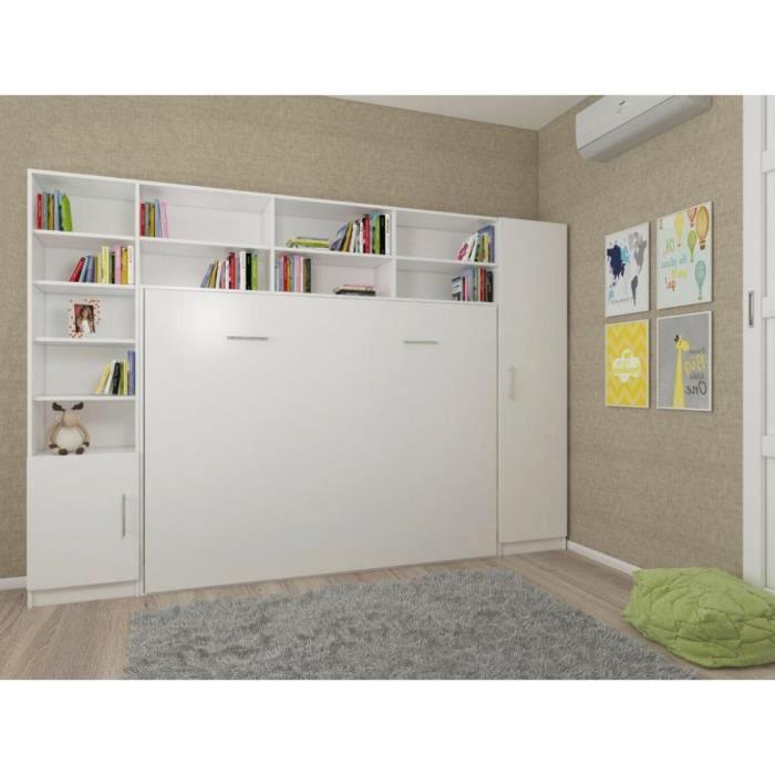 Composition armoire lit horizontale STRADA-V2 blanc mat Couchage 140cm avec surmeuble et 2 colonnes rangements - - Inside75