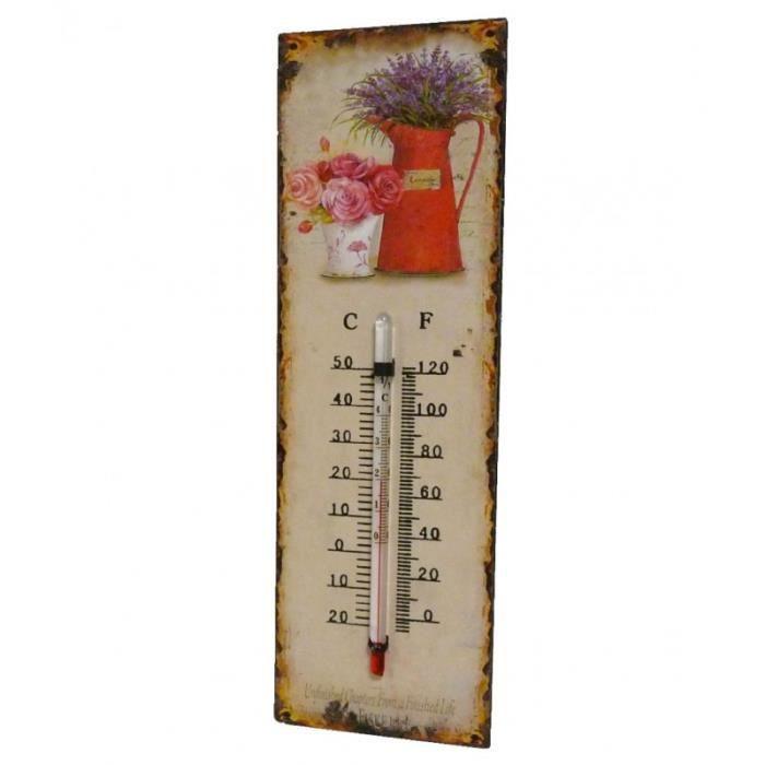 Thermomètre Mural ou à Poser Décoratif en Celsius et Farenheit Motif -Floral Ancien- en Fer et Papier Vernis 0,5x8x25cm Multicolore