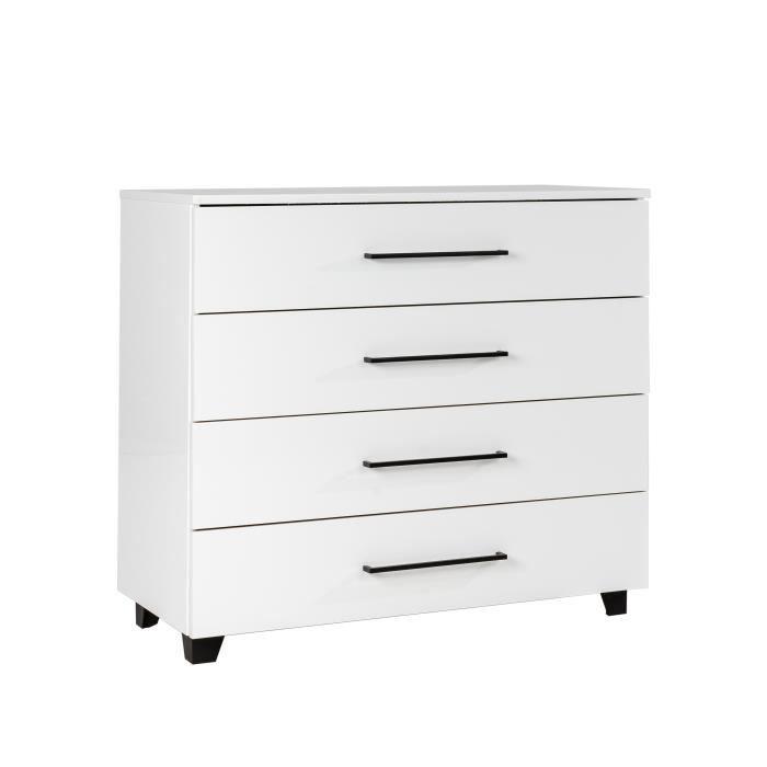 MEUBLES COSY Commode 4 tiroirs scandinave - Décor Blanc brillant - L 80 x P 40 x H 81 cm