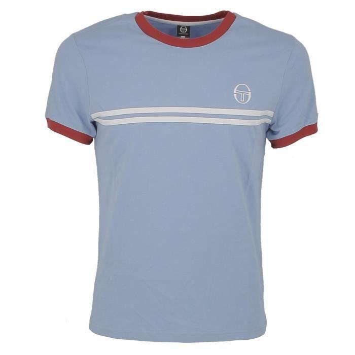 T-shirt Tacchini bleu ciel blanc et rouge.