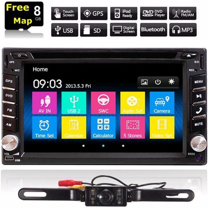 NEUFU 6.2'' Autoradio 2-Din Voiture Autoradio Écran Bluetooth Stéréo GPS Navigation DVD CD FM Radio MP5