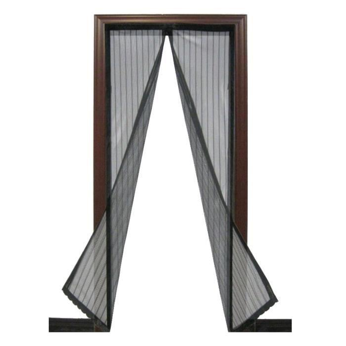 Moustiquaire de Porte Magnétique Fermeture Automatique Rideau Porte Anti Insectes Mouche Moustique avec Aimants (2.1m) Noir