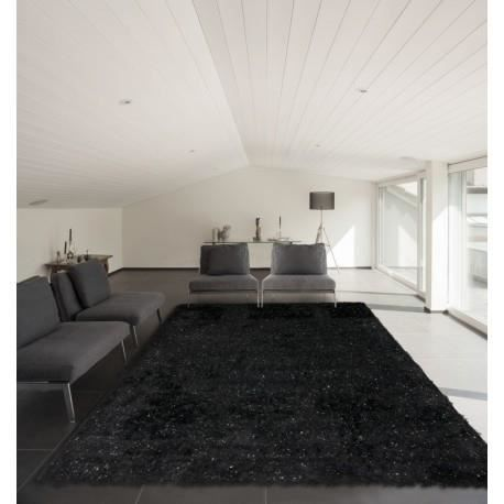 tapis avec lurex shaggy pour salon noir tigra 80x150cm noir achat vente tapis cdiscount. Black Bedroom Furniture Sets. Home Design Ideas