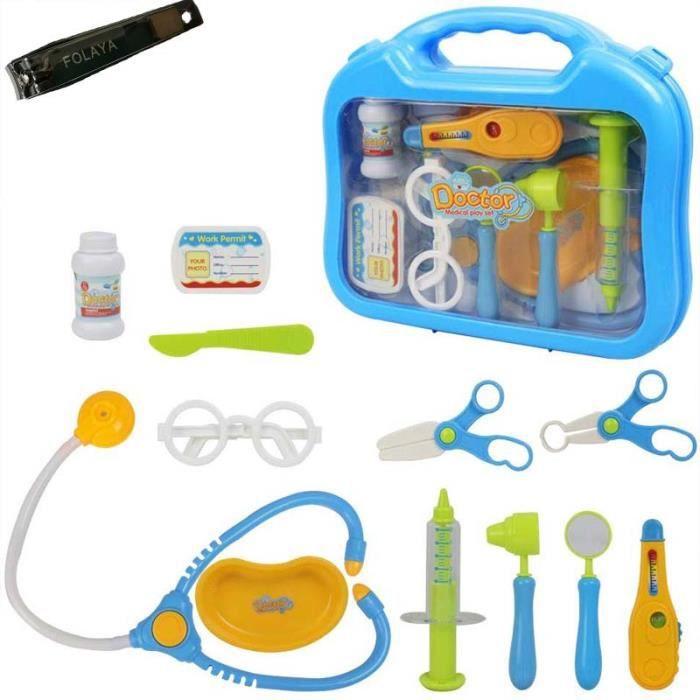 Maison de Poupées Accessoire médecins Set Stéthoscope injection Ciseaux Genou Marteau