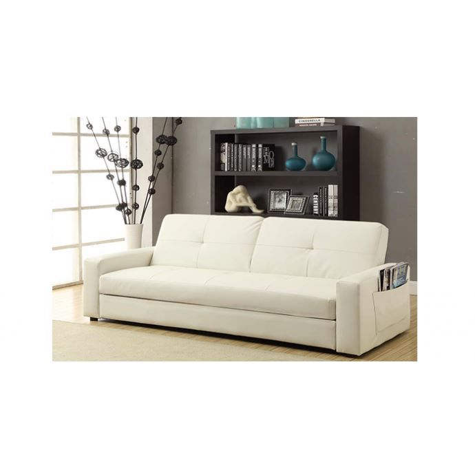 canap convertible porto avec coffre de rangement blanc. Black Bedroom Furniture Sets. Home Design Ideas