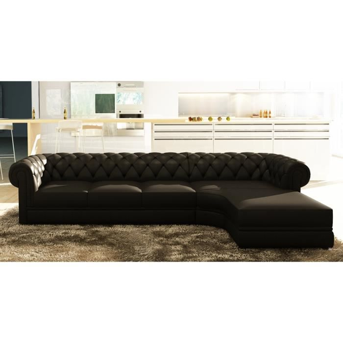 canap d 39 angle noir capitonn chesterfield achat vente canap sofa divan cdiscount. Black Bedroom Furniture Sets. Home Design Ideas