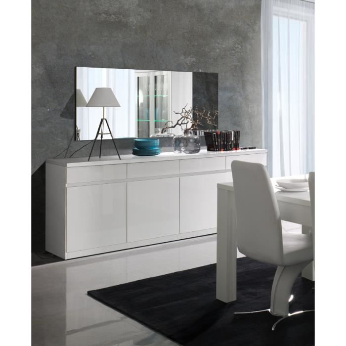 buffet bahut enfilade 4 portes et 4 tiroirs fabio miroir blanc laqu high gloss meuble. Black Bedroom Furniture Sets. Home Design Ideas