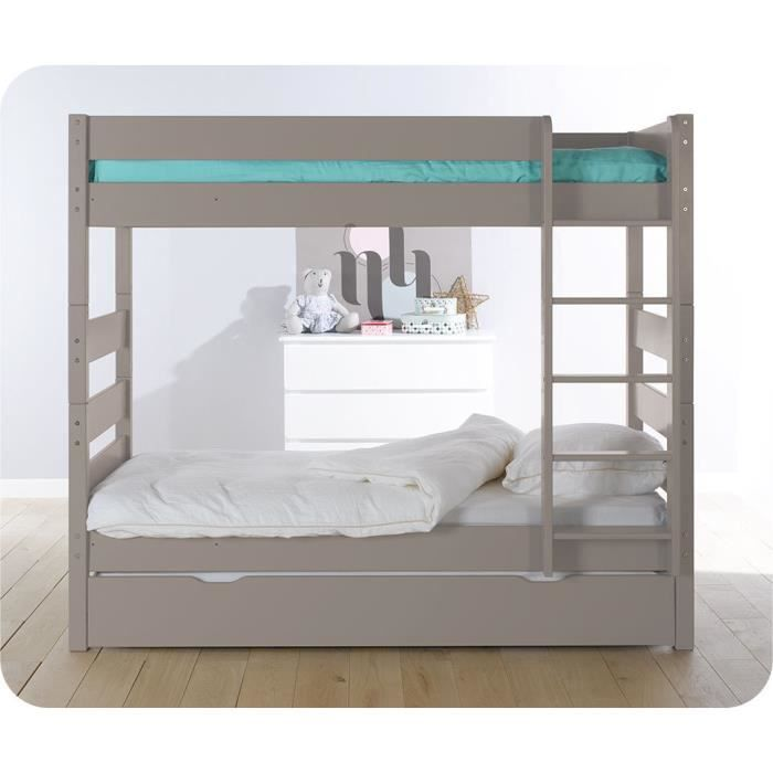 lit superpos kids lin avec sommier gigogne achat vente lits superposes lit superpos kids. Black Bedroom Furniture Sets. Home Design Ideas