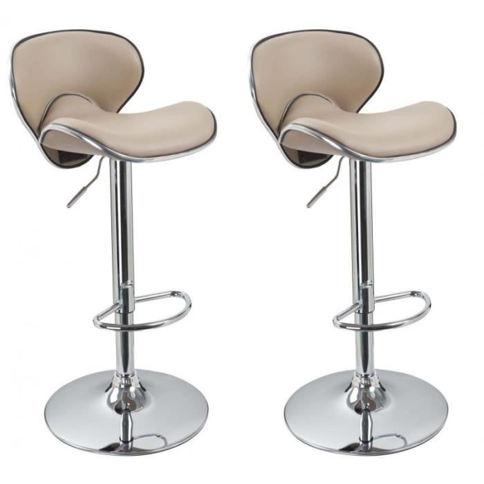lot de 2 tabourets de bar beige 1209062 achat vente. Black Bedroom Furniture Sets. Home Design Ideas