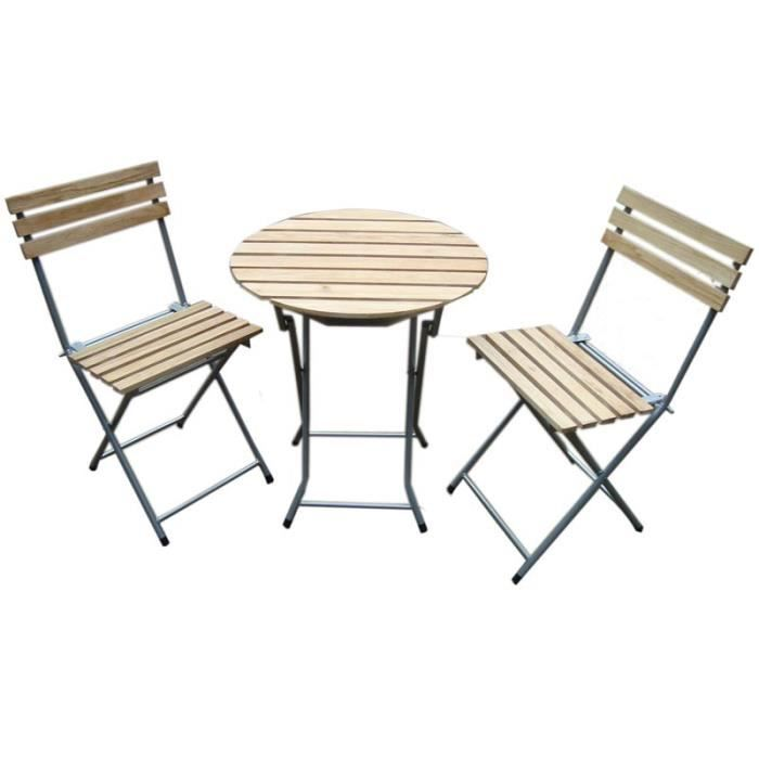 ensemble bistrot pr jardin table 2 chaises ronde pliantes m tal bois beige achat. Black Bedroom Furniture Sets. Home Design Ideas