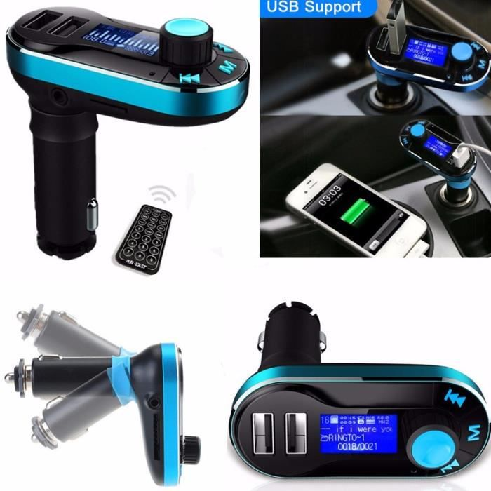 bluetooth radio lecteur mp3 autoradio transmetteur fm usb sd modulateur voiture bleu achat. Black Bedroom Furniture Sets. Home Design Ideas